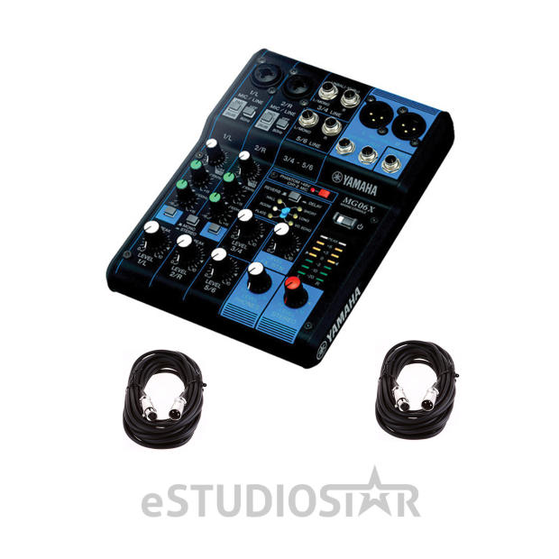 yamaha mg06x 6 input stereo mixer 2 xlr mic cables 20 ft reverb. Black Bedroom Furniture Sets. Home Design Ideas