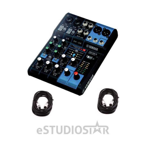 yamaha mg06x 6 input stereo mixer 2 xlr mic cables 20