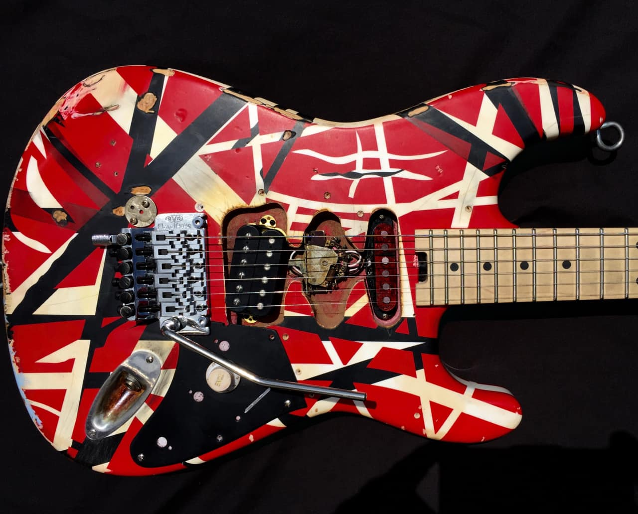 evh striped series red white black aged distressed reverb. Black Bedroom Furniture Sets. Home Design Ideas