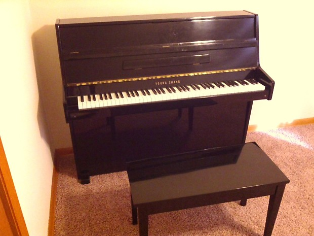 young chang upright piano gloss black reverb. Black Bedroom Furniture Sets. Home Design Ideas