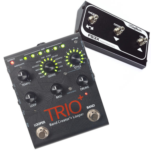 digitech trio plus band creator and looper with footswitch reverb. Black Bedroom Furniture Sets. Home Design Ideas