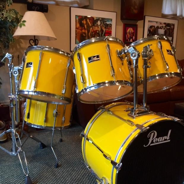 Vintage pearl export ex 1990 9 ply shells yellow flash for Classic house drums