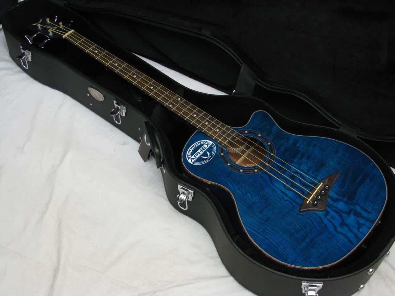 Dean Exotica Quilt Ash Acoustic Electric Bass Guitar W