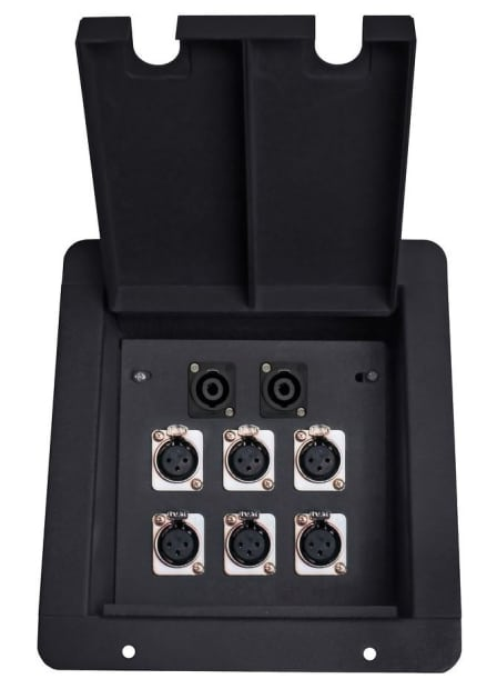 Elite Core Recessed Metal Floor Cable Box With 6 Xlr And 2