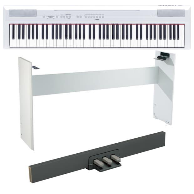 Yamaha p115 white digital piano w stand bench pedal for Yamaha white piano bench