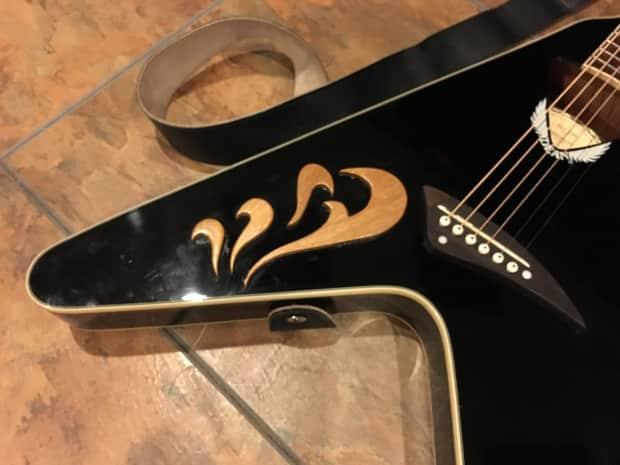 Dean Flying V Acoustic Electric Guitar Vco Cbk Black Nice