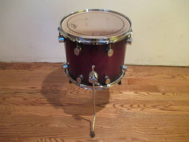 Dw pacific 14 x 12 inch floor tom on legs red sparkle for 14 inch floor tom