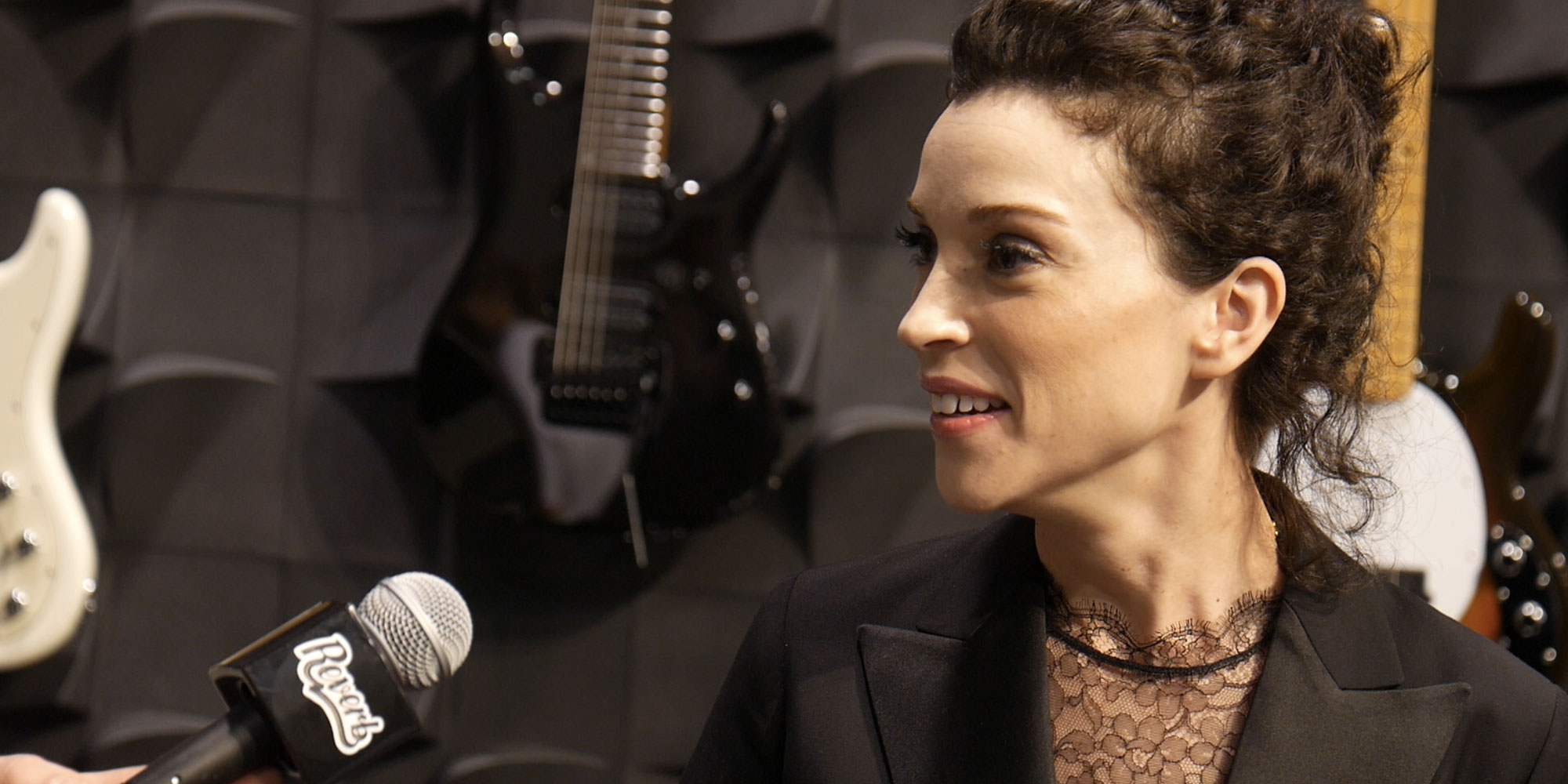 St. Vincent on Her Music Man Signature Guitar