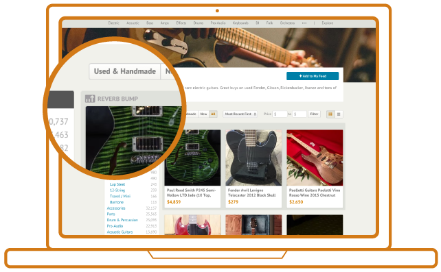 Reverb Bump features your listings on the top of the page