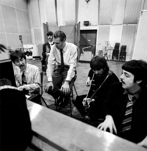 Sir George Martin with the Beatles