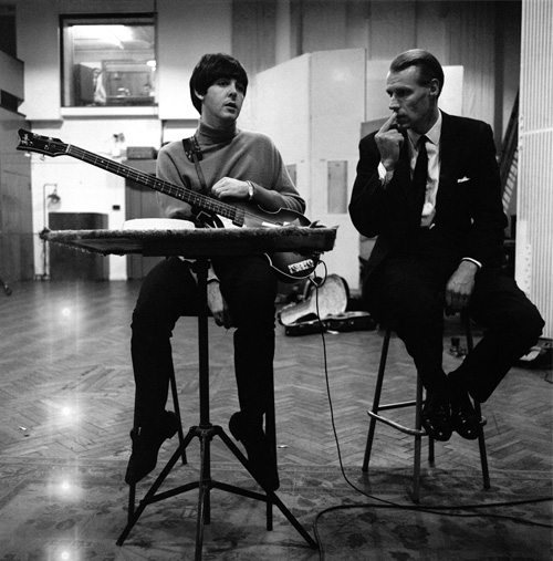 George Martin & Paul, during a recording session for the album Beatles For Sale