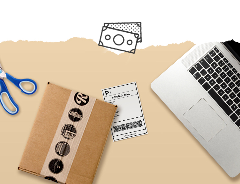 Image of shipping label, laptop, and a shipping box