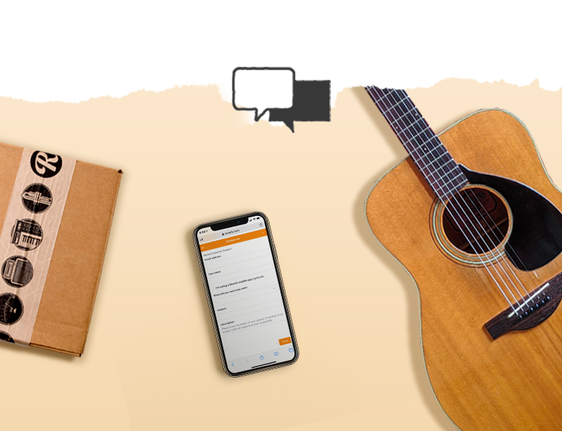 Image of guitar, a smartphone, and a shipping box