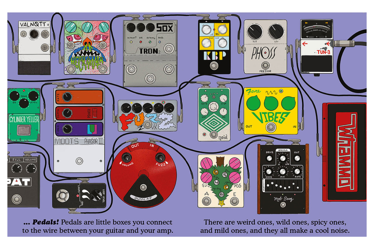 Illustrations of different famous effects pedals