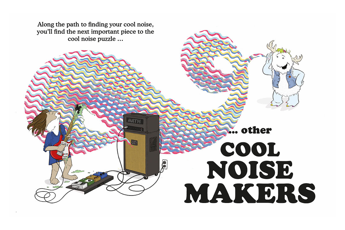 An illustration of cartoon musicians making cool noises