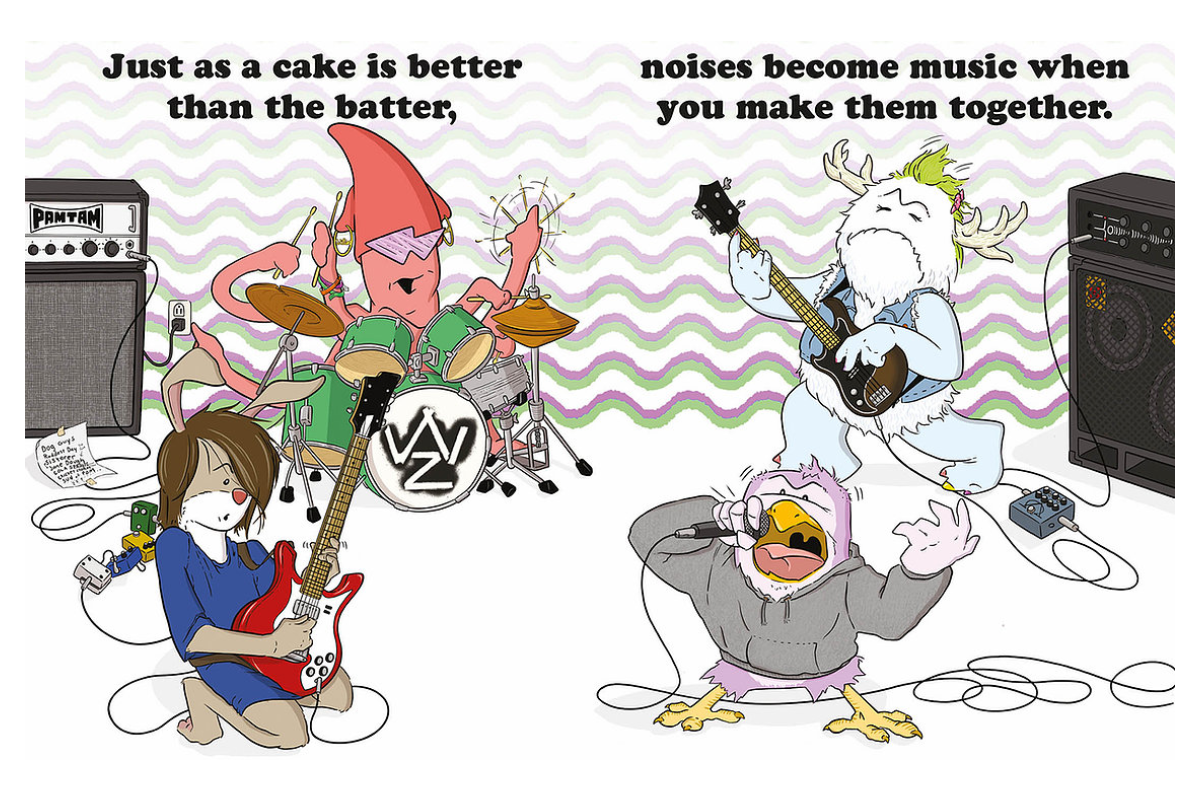 An illustration of a cartoon band of animals